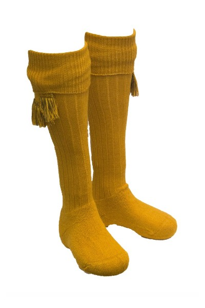Chaussettes moutarde + garters - Homme