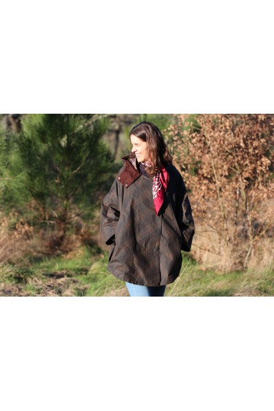 Cape huilée Hooded - Tartan marron
