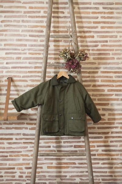 Manteau tweed enfant - dark sage
