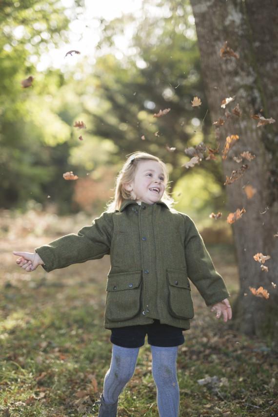 Manteau tweed enfant - dark sage