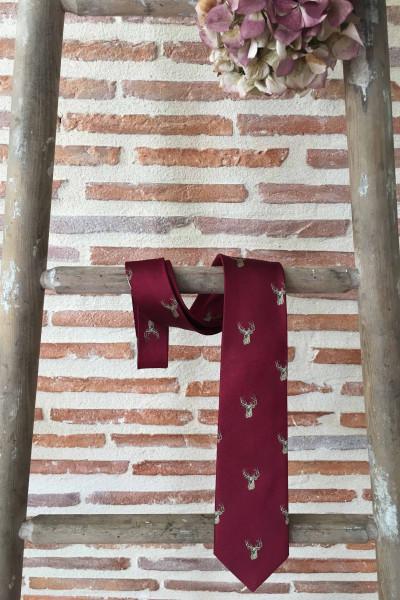 Cravate homme cerfs - Rouge