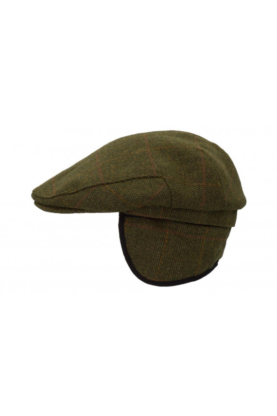 Casquette tweed vert foncé H/F - oreillettes à rabat