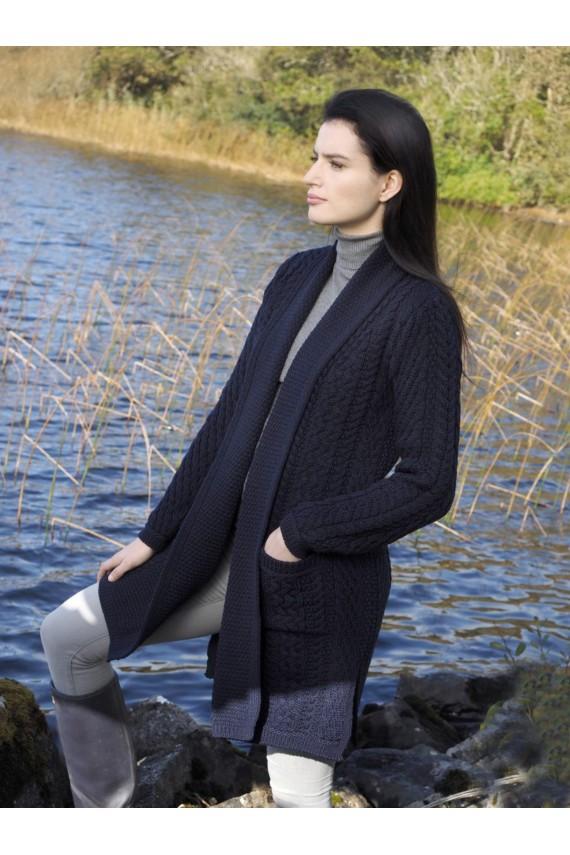 Gilet long femme Doolin 100% pure laine bleu marine